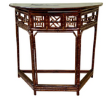 Asian Bamboo Demilune Table