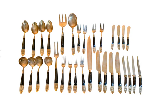 Mid Century Brass and Rosewood 32 Piece Dining Service, Silverware