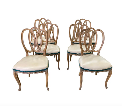 Set of 6 French Triple Oval Splat - Ribbon Back Dining Chairs - 2 Arm Chairs, 4 Side Chairs