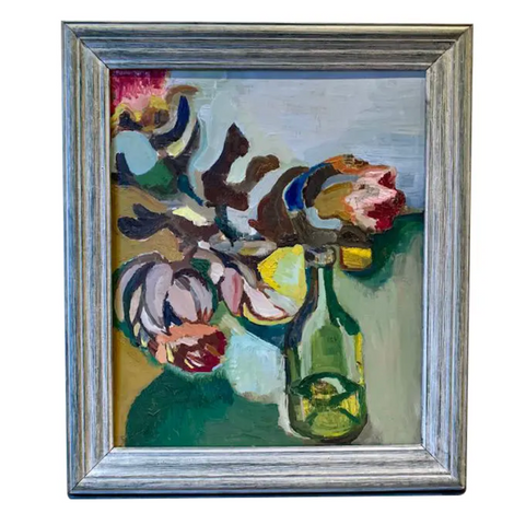 Mid Century Painting - Still Life of Flowers and a Bottle - Signed, 1964