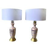 Pair, Mid Century Pink Ceramic Lamps - Gold and Silver Stripes