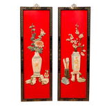 Pair, Mid Century Asian Wood Wall Hangings With Flowers in Vases