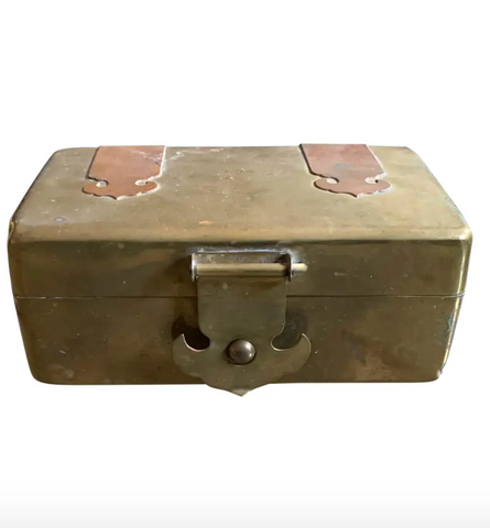 Mid Century Brass and Copper Hinged Box, Woco