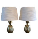 Mid Century Brass Pineapple Lamps, a Pair