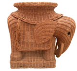 Large Wicker Elephant Side Table, Stool