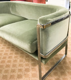 Vintage Chrome and Mohair Sofa, Loveseat