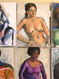 Collection of 12 Mid Century Portraits, Paintings