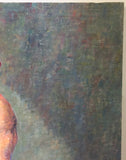 Large Mid Century Portrait, Man with no Shirt, Oil on Canvas