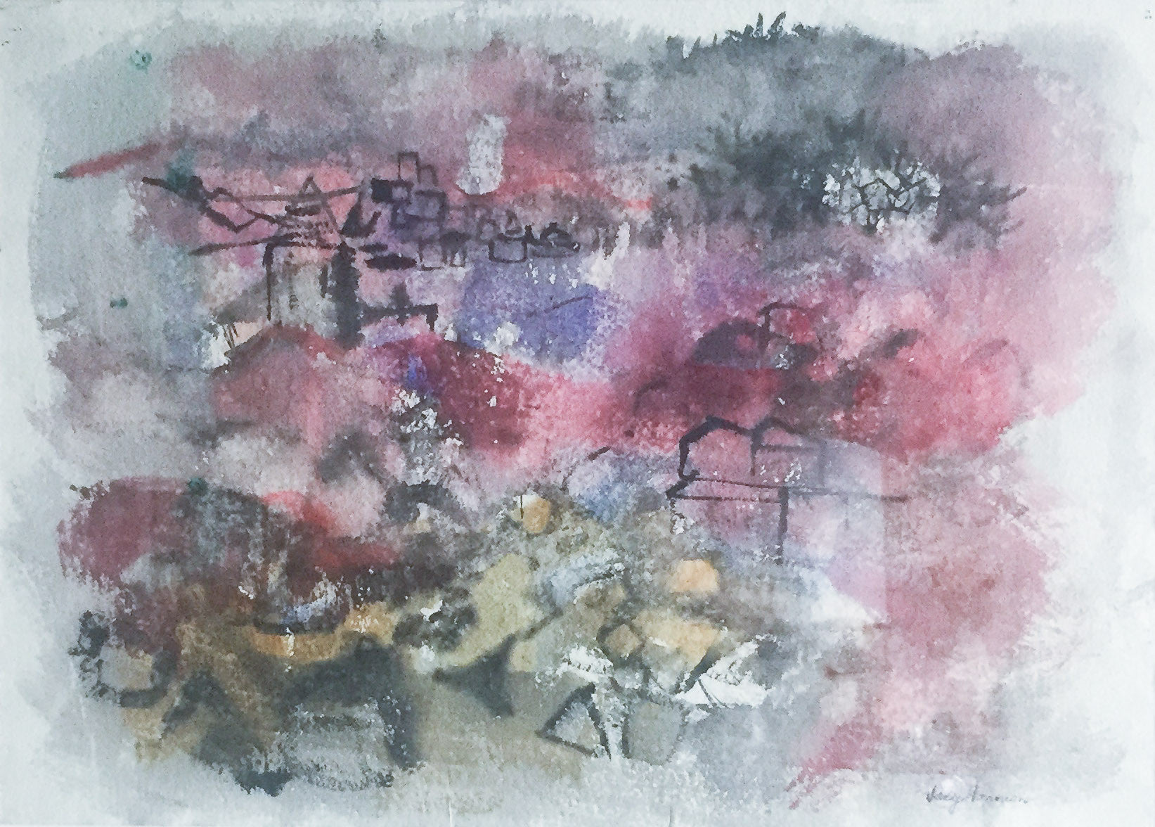 Original Listed Artist Lily Harmon, Signed Painting - Cityscape
