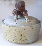 Original Signed Gerry Williams Lidded Vessel, Pottery, Human Figures