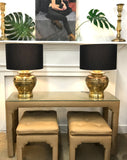 Mid Century Upholstered Parson's Style Console Table and Benches