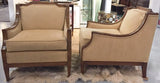 Pair, Mid Century Regency Style Flared Arm Club Chairs
