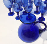 Vintage Set of 24 Mid Century Stemware Blue Glasses with a Blue Pitcher