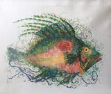 Mid Century Fish Silkscreen Print on Canvas - Signed Tran Long 1971