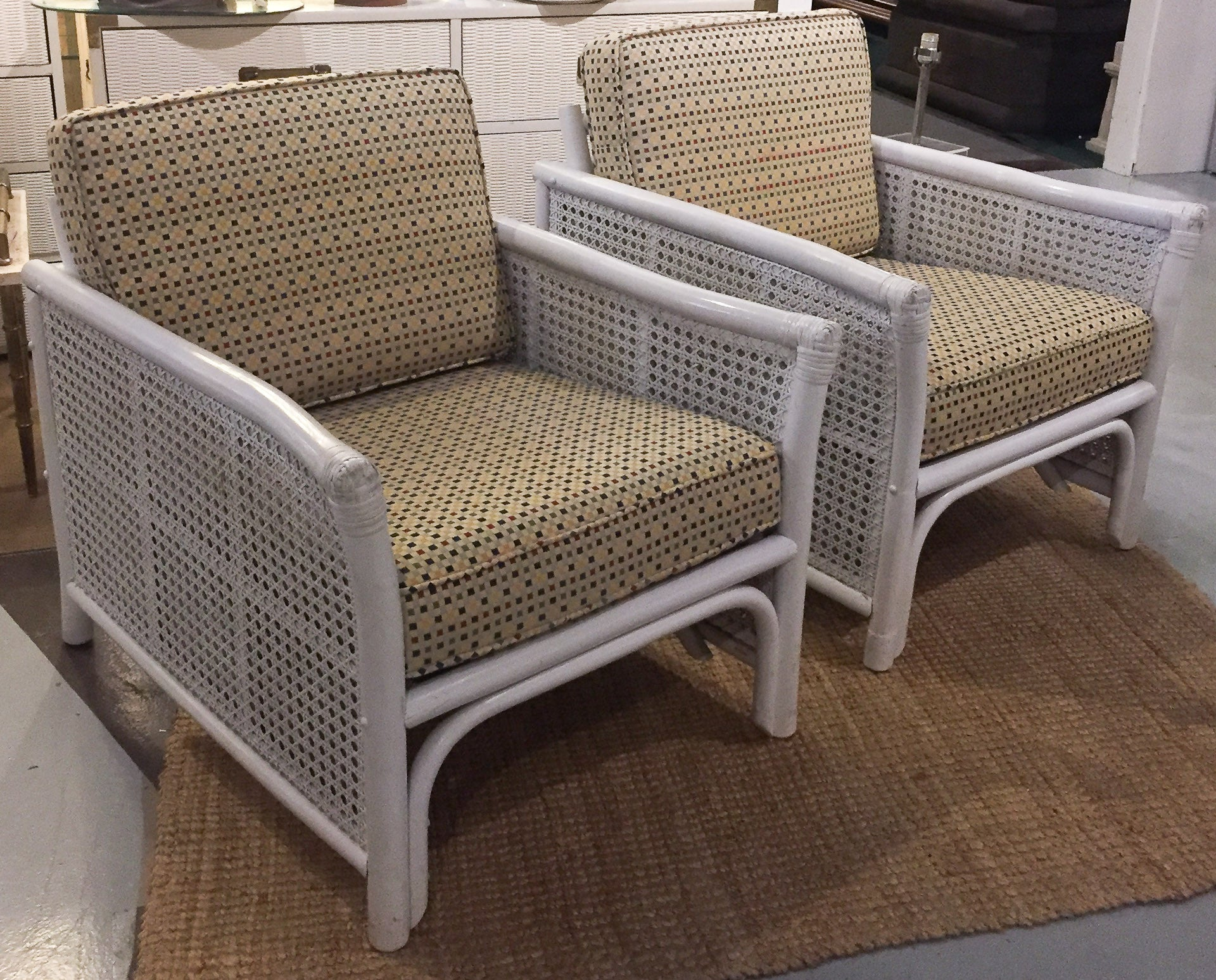 Ficks Reed Mid Century Bamboo & Caned Lounge Chairs - a Pair