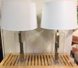 Mid-Century Laurel Studios Lucite & Chrome Lamps - A Pair