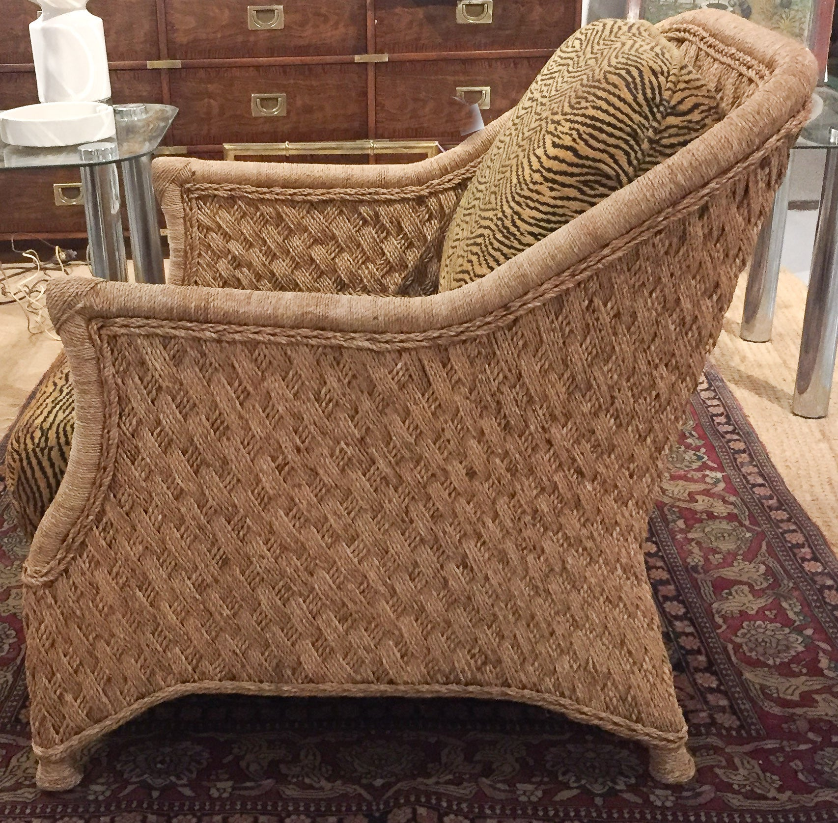 Mid Century Rope, Jute, Woven Rope Lounge Chair, Animal Print
