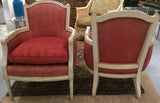 Pair, 1940's Bergere Chairs, Original Red Upholstery, Signed a Mazor