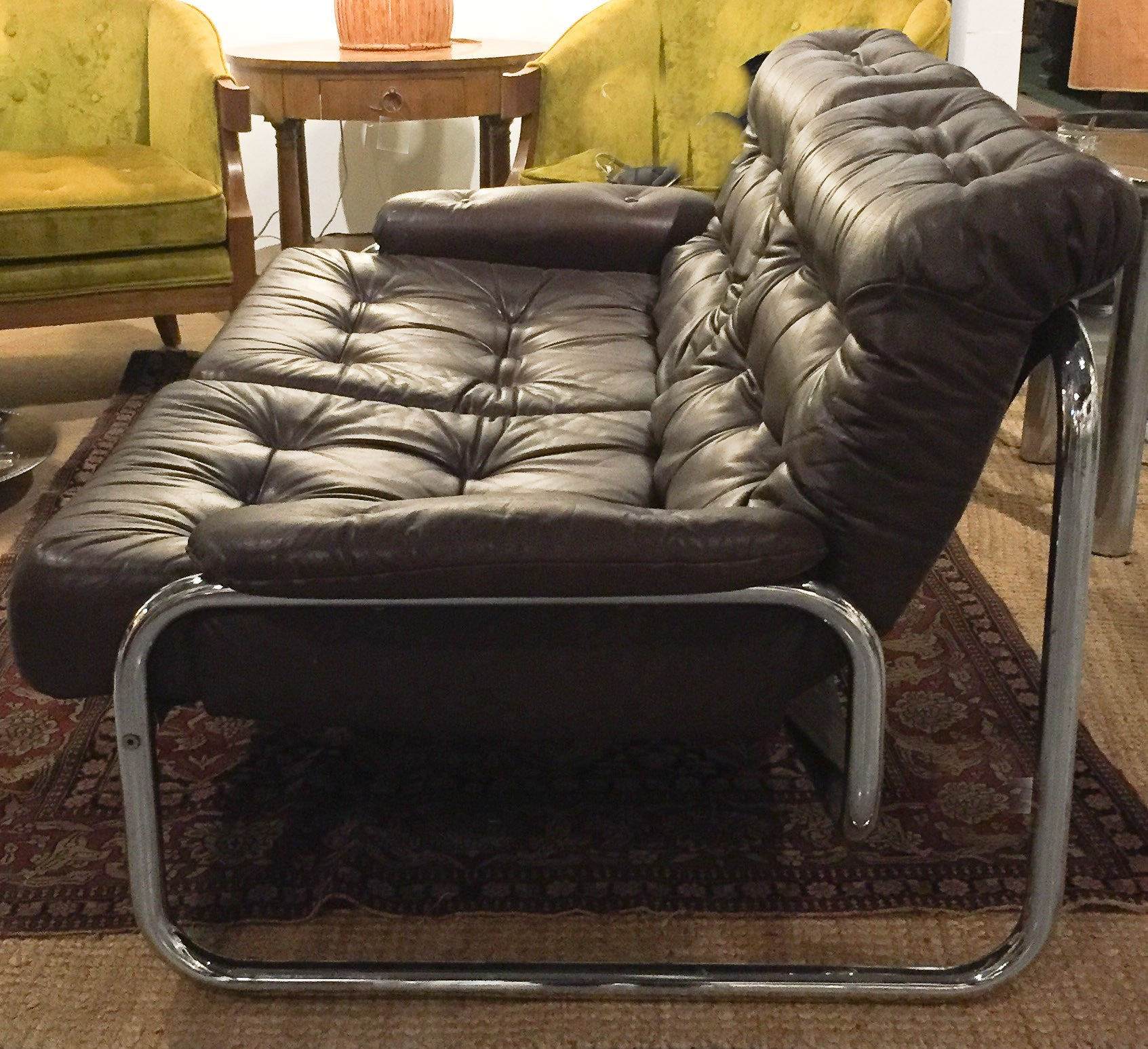 Mid Century Leather and Tubular Chrome Loveseat, Sofa