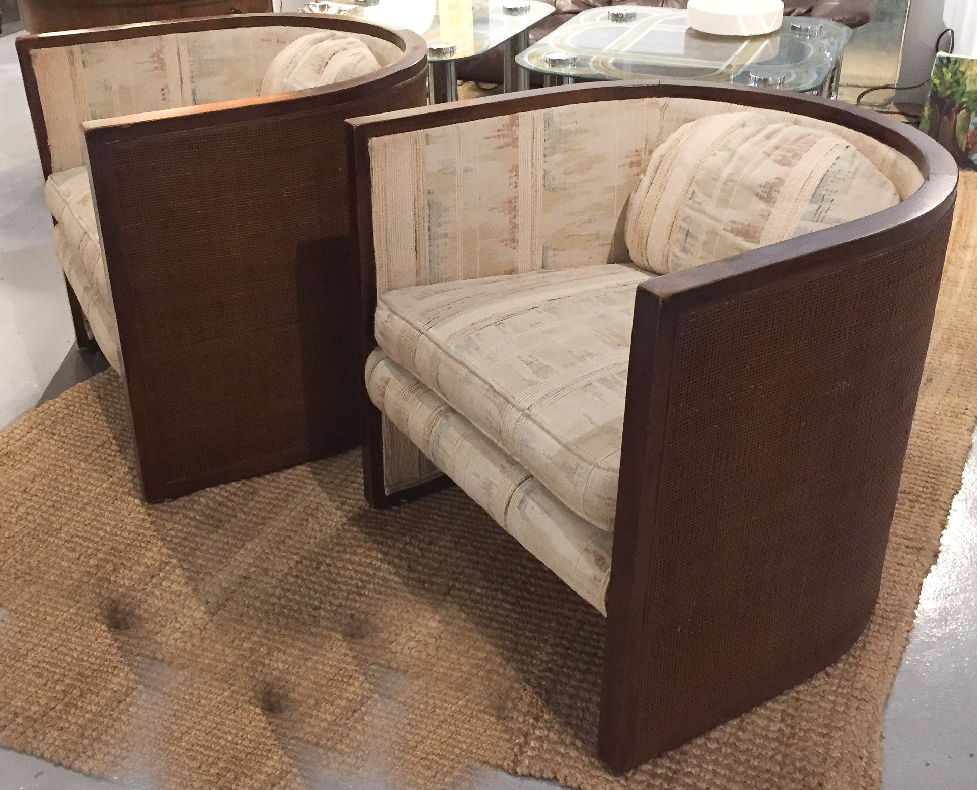 Baughman Style Mid-Century Caned Lounge Chairs- A Pair