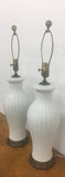 Pair, 1940's White Fluted Lamps