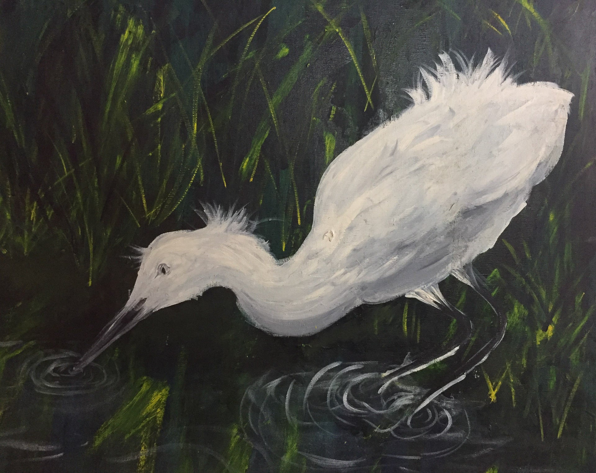 Large Vintage Oil on Canvas - Wading Heron