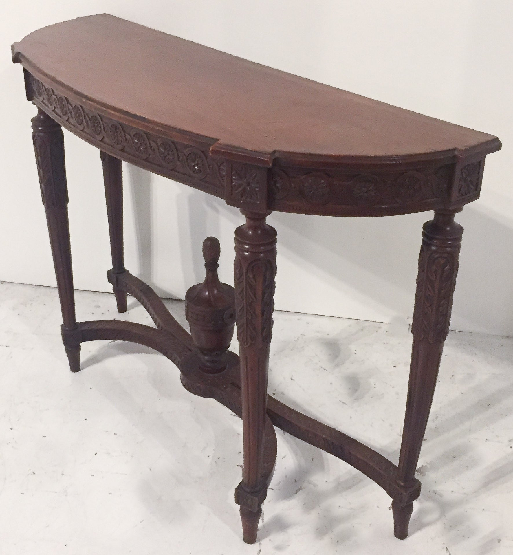 Antique Mahogany Demilune, Console Table