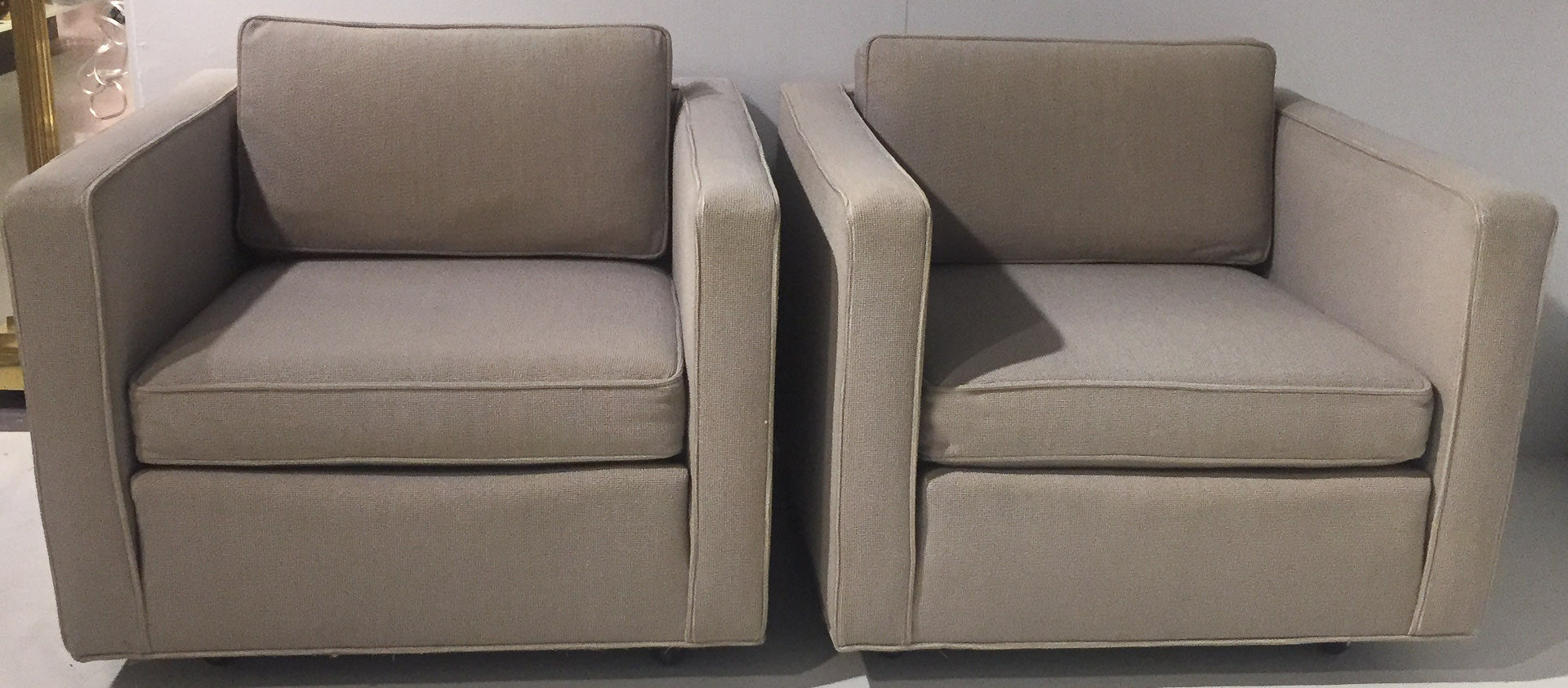 Pair, Mid Century Milo Baughman Style Upholstered Cube Chairs