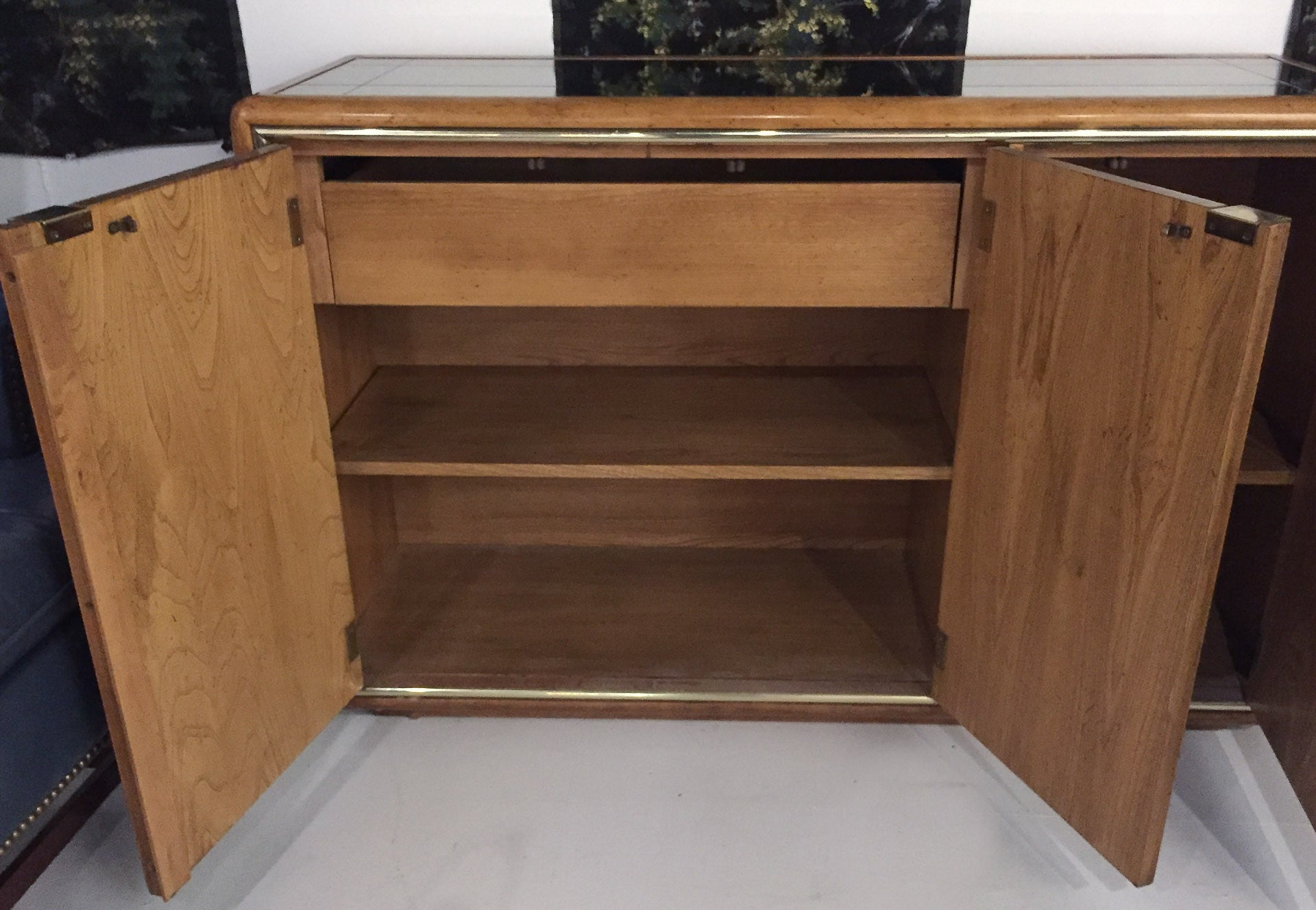 Mid Century American of Martinsville Side Board, Server, Mirrored Top