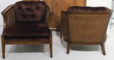 Granick Mid-Century Caned Club Chairs - A Pair