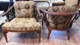 Mid Century Round Back Graphic Upholstery Chairs - A Pair
