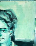 Mid Century Painting - Green Lady with the Cookie Jar