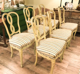 Set of 6 Mid Century Hollywood Regency Ribbon Back Dining Chairs
