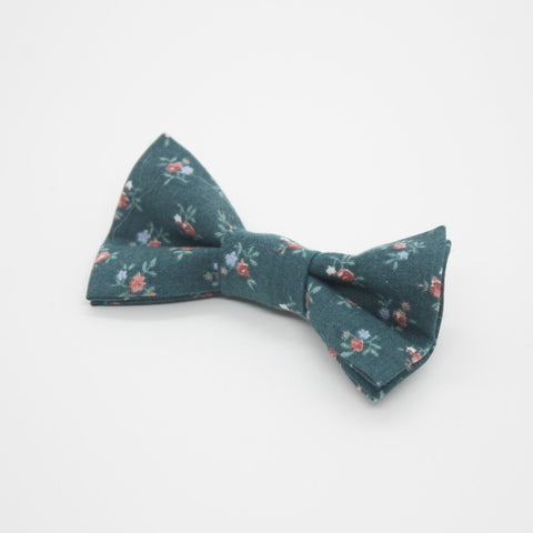 Teal Floral Hair Bow (Small)