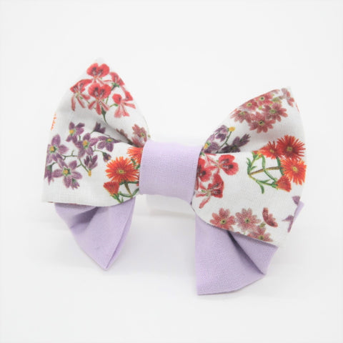 Purple Floral - Medium Pet Bow