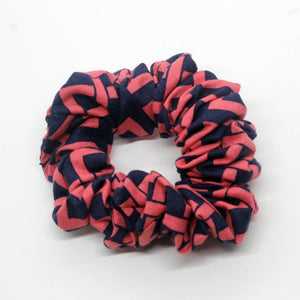 Pink and Navy Geometric Scrunchie