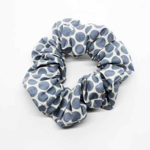 Blue Polka-Dots Scrunchie