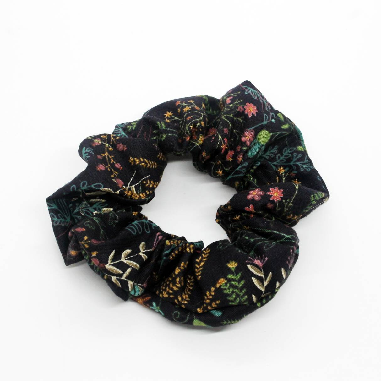 Brown Colourful Floral Scrunchie