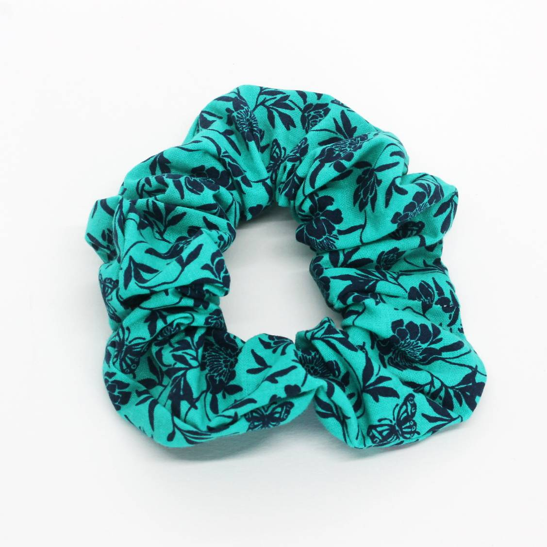 Teal Floral and Butterfly Scrunchie