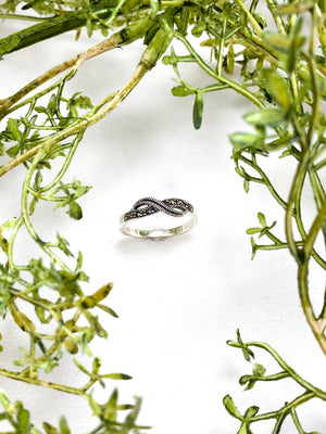 Sterling Silver Infinity Ring with Swiss Cut Marcasite