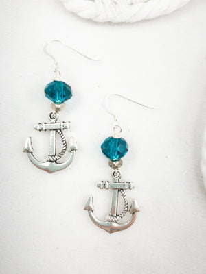 Crystal Anchor Earrings