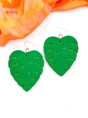 Tropical Faux Leather Leaf Earrings