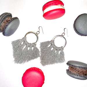 Gray Fringe Hoops