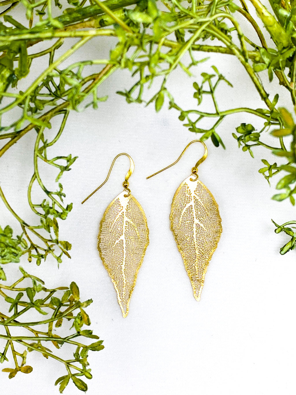 24k Gold Plated Leaf Earrings