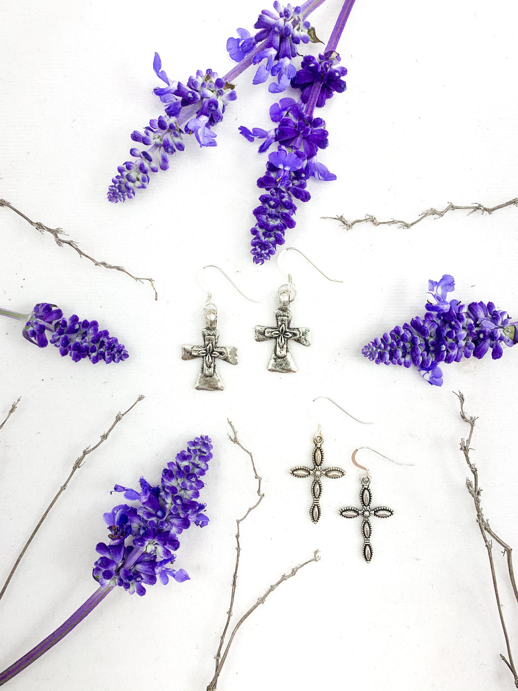 Nickel Free Pewter Cross Earrings on Sterling Silver Ear Wires