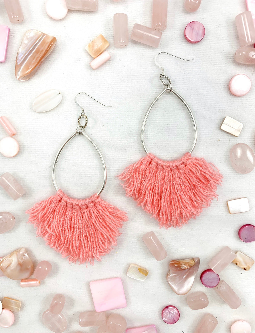 Pretty in Peach Fringe Earrings