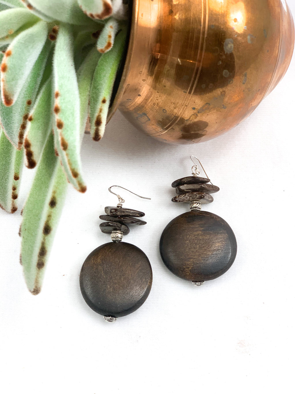 Chinese Maple Wood and Coconut Shell Chip Earrings