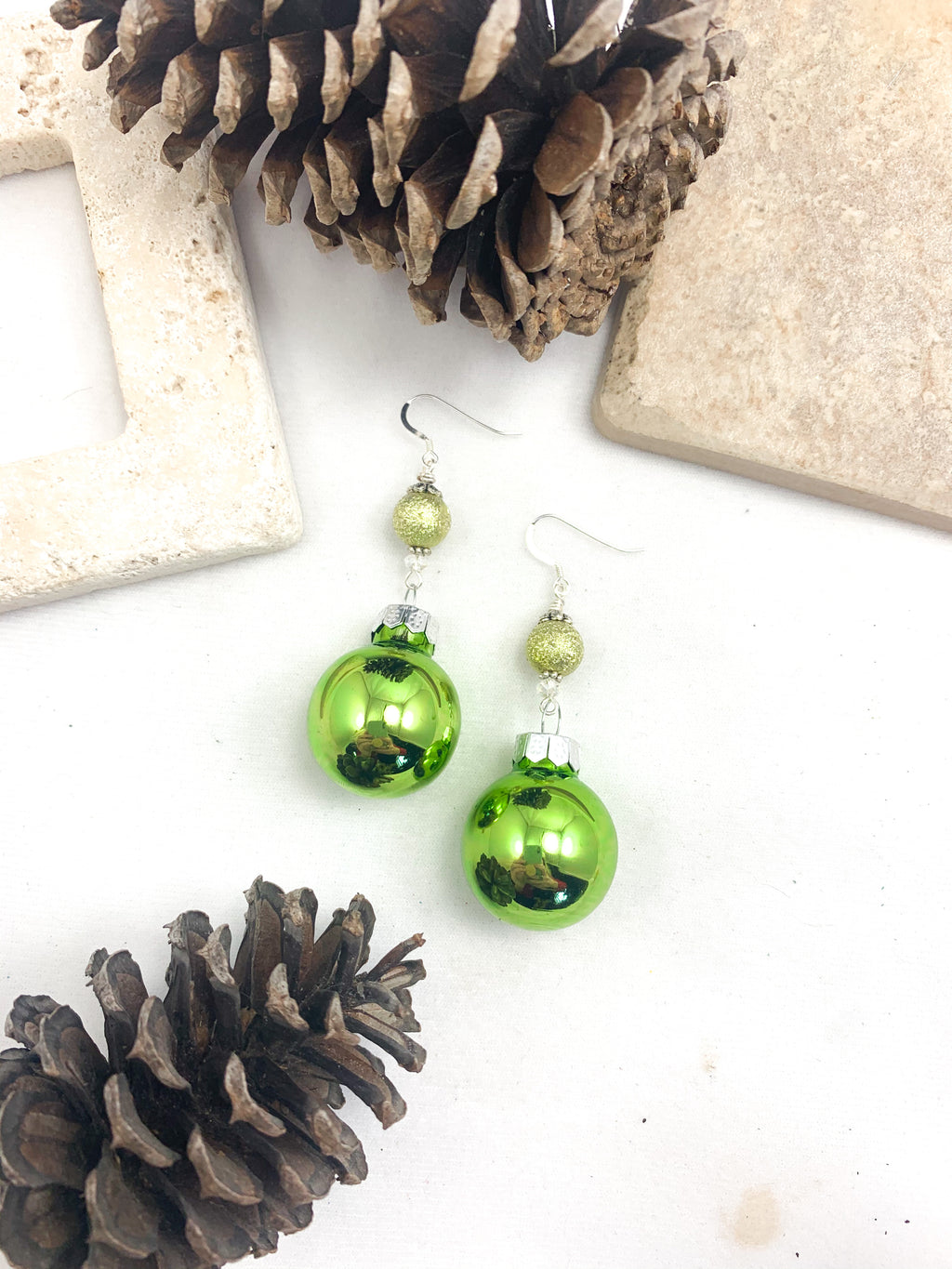 Green Glass and Swarovski Crystal Ornament Earrings