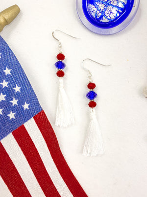 Patriotic Crystal & Tassel Earrings