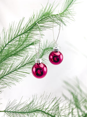 Magenta Glass Ornament Earrings